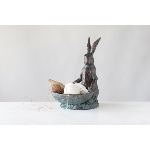 Decorative Rabbit Bird Bath Creative Co-Op