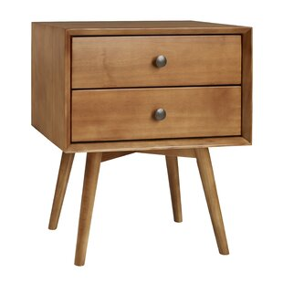 Gerow Mid-Century 2 Drawer Nightstand