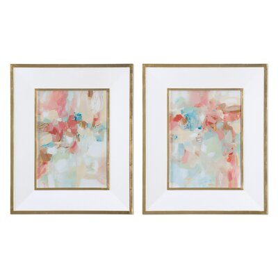 Brayden Studio 'A Touch of Blush and Rosewood Fences' 2 Piece Framed Painting Print Set