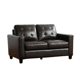 17 Stories Dion Genuine Leather Loveseat