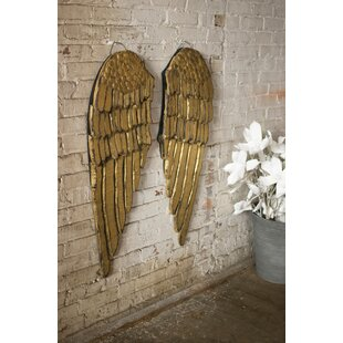 2 Piece Painted Wooden Angel Wing Wall Décor Set