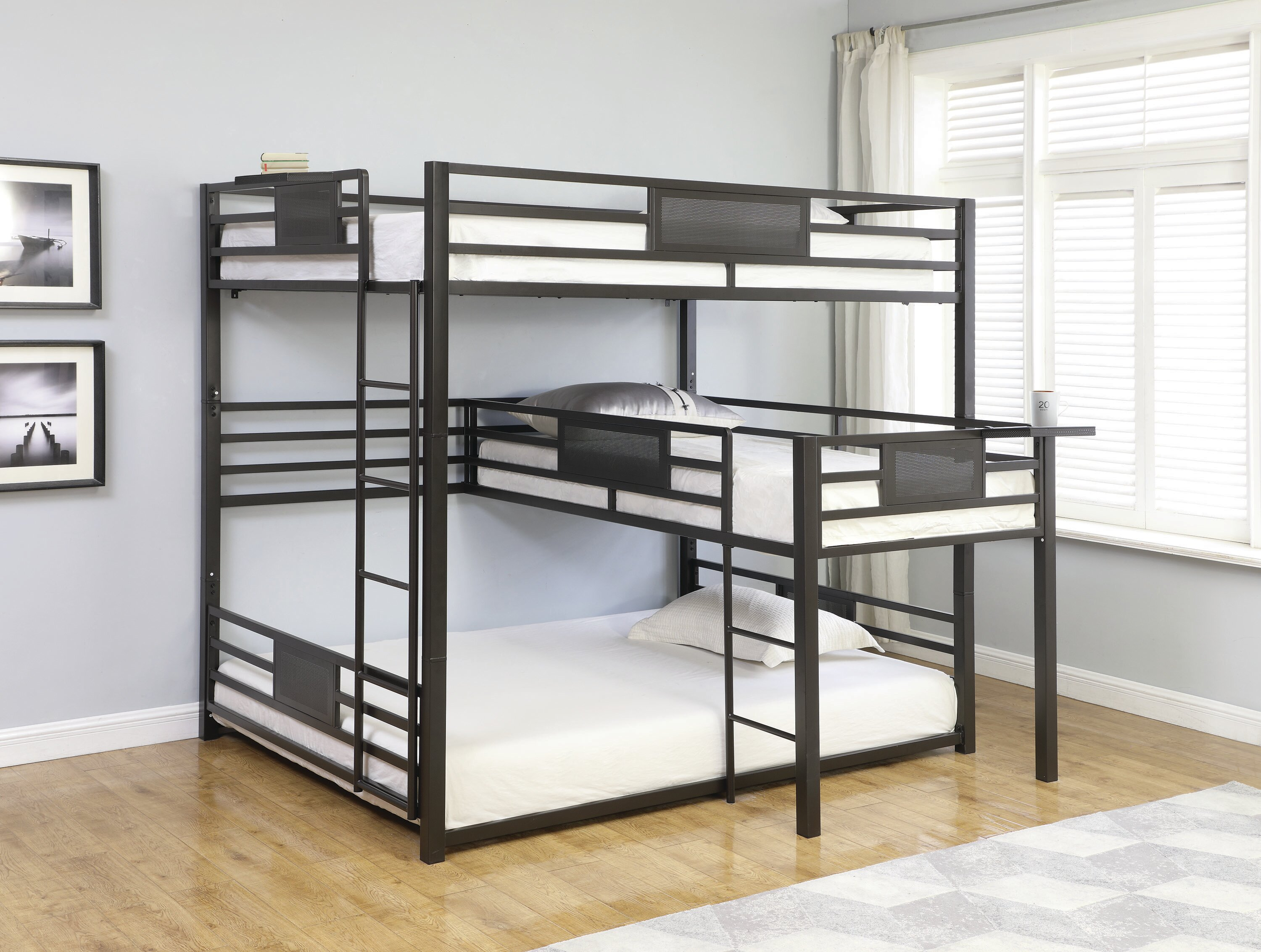 17 Stories Stainforth Queen Over Twin Over Queen Triple Bunk Bed