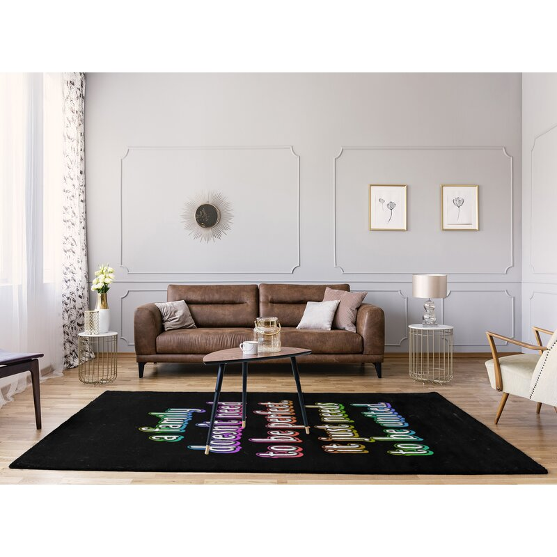 East Urban Home Family Love Quote Chalkboard Style Poly Chenille Rug Wayfair