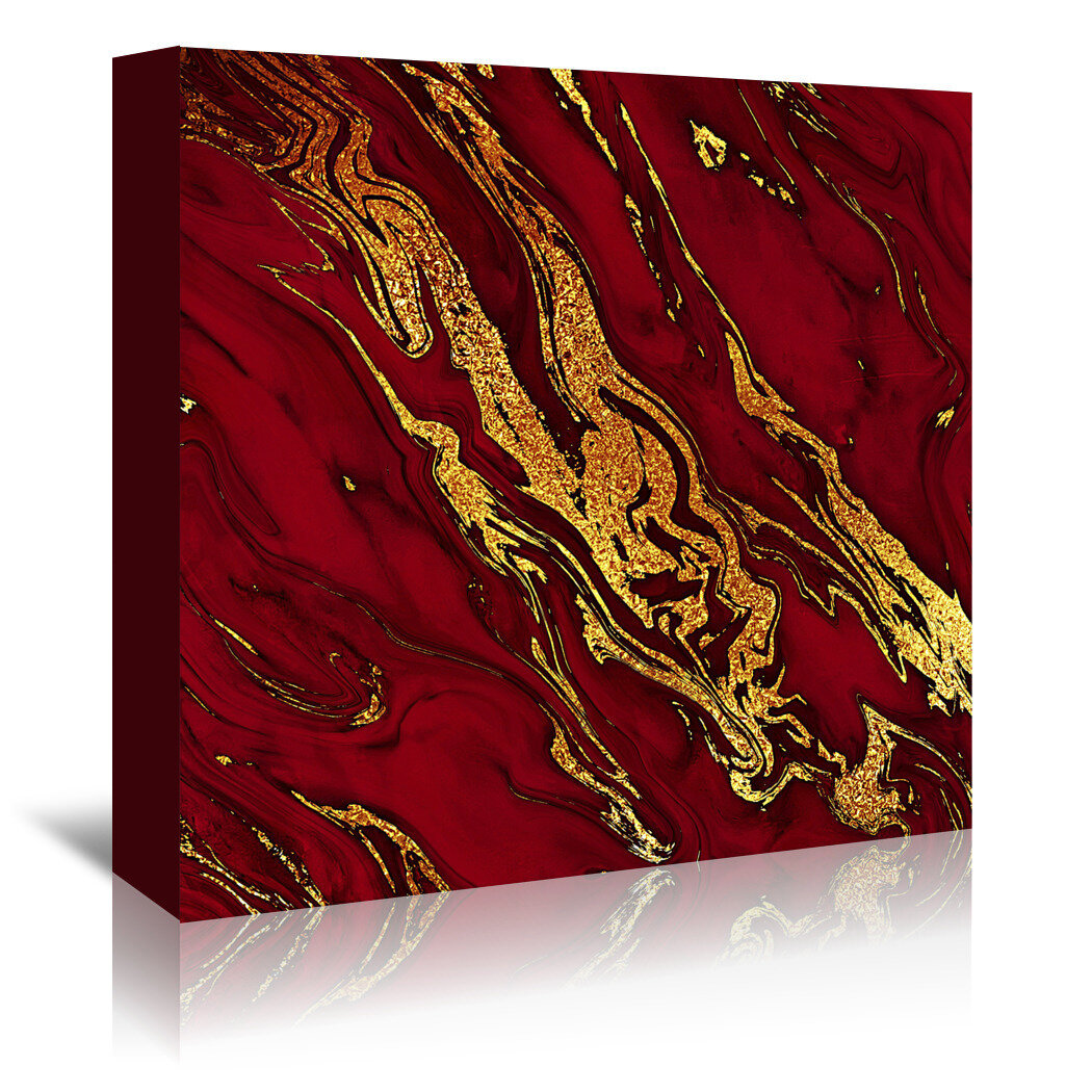 East Urban Home Luxury Red And Gold Glitter Gem Agate And Marble Texture Graphic Art Print Reviews