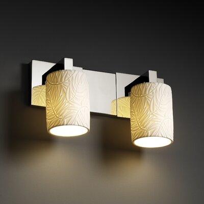 Devaughn 2 Light Vanity Light Darby Home Co Shade Pattern Banana Leaf Finish Matte Black