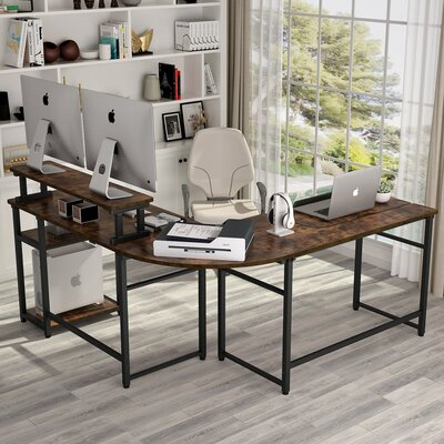 Latitude Run Chiqueta Height Adjustable L-Shaped Desk with Hutch  Color: Brown