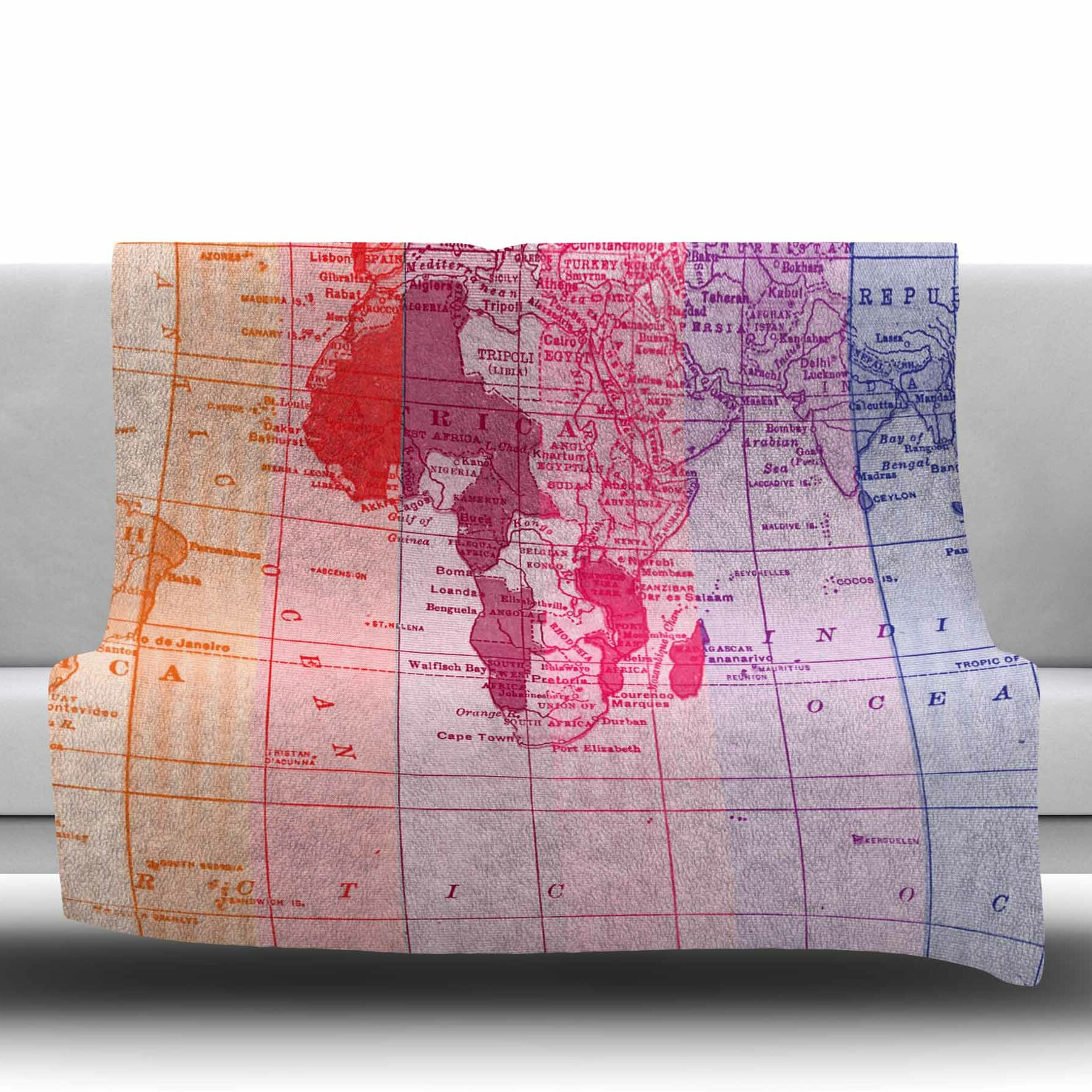 East urban home rainbow world map by catherine holcombe fleece throw east urban home rainbow world map by catherine holcombe fleece throw blanket wayfair gumiabroncs Gallery
