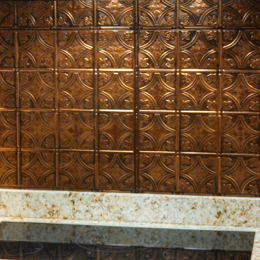 American Tin Ceilings 24 X Metal Backsplash Panel Kit In Copper Brushed Bronze Wayfair