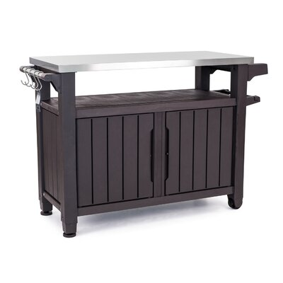 Cambron Caster Bar Serving Cart Finish: Dark Brown by Andover Mills