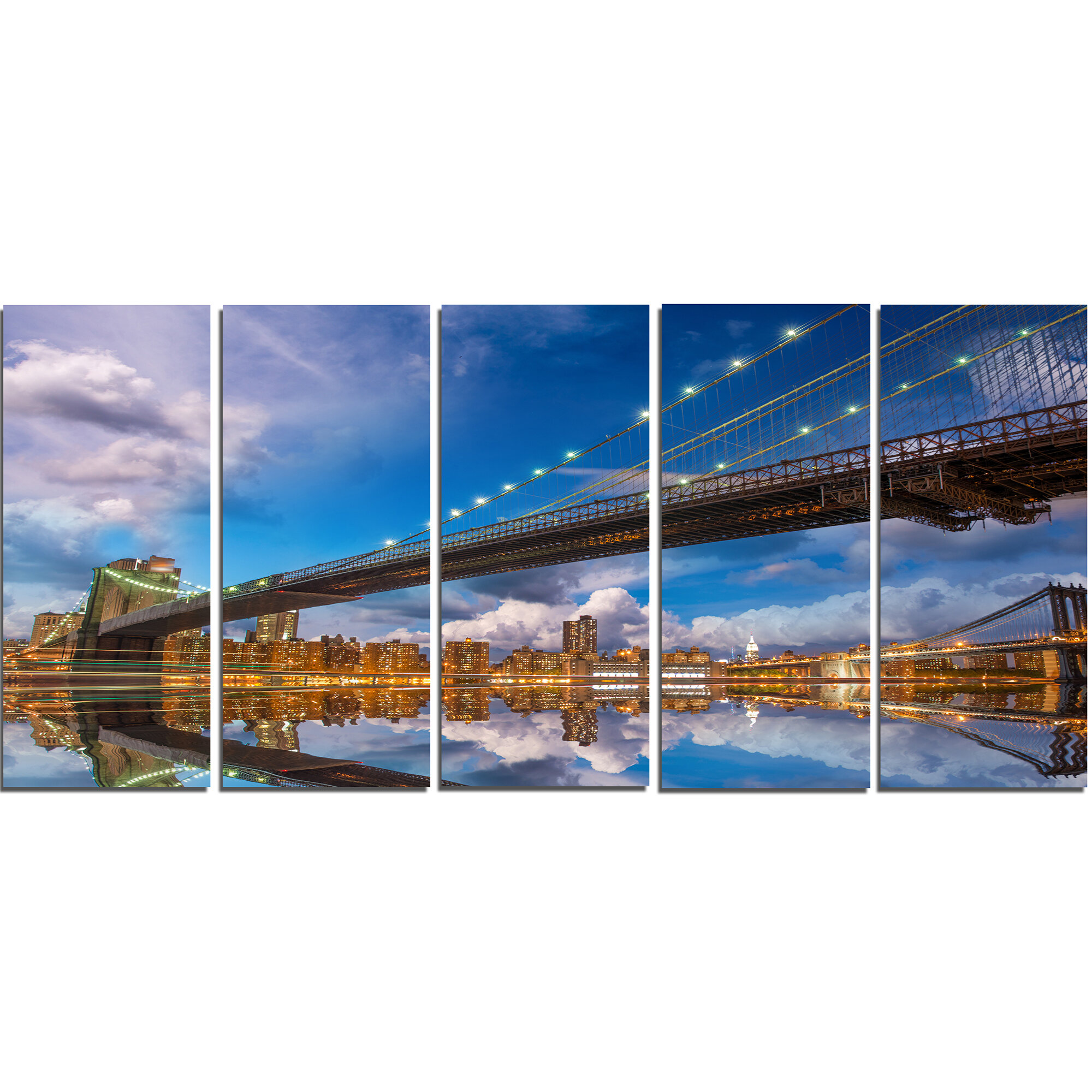 Designart Sunset Over Brooklyn Bridge 5 Piece Wall Art On Wrapped Canvas Set Wayfair