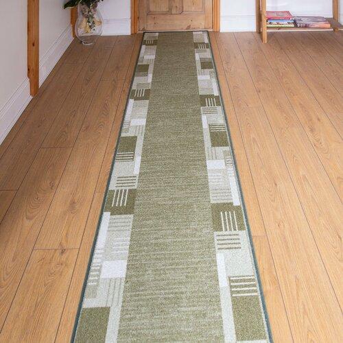 Bale Looped/Hooked Dark Green Hallway Runner Rug