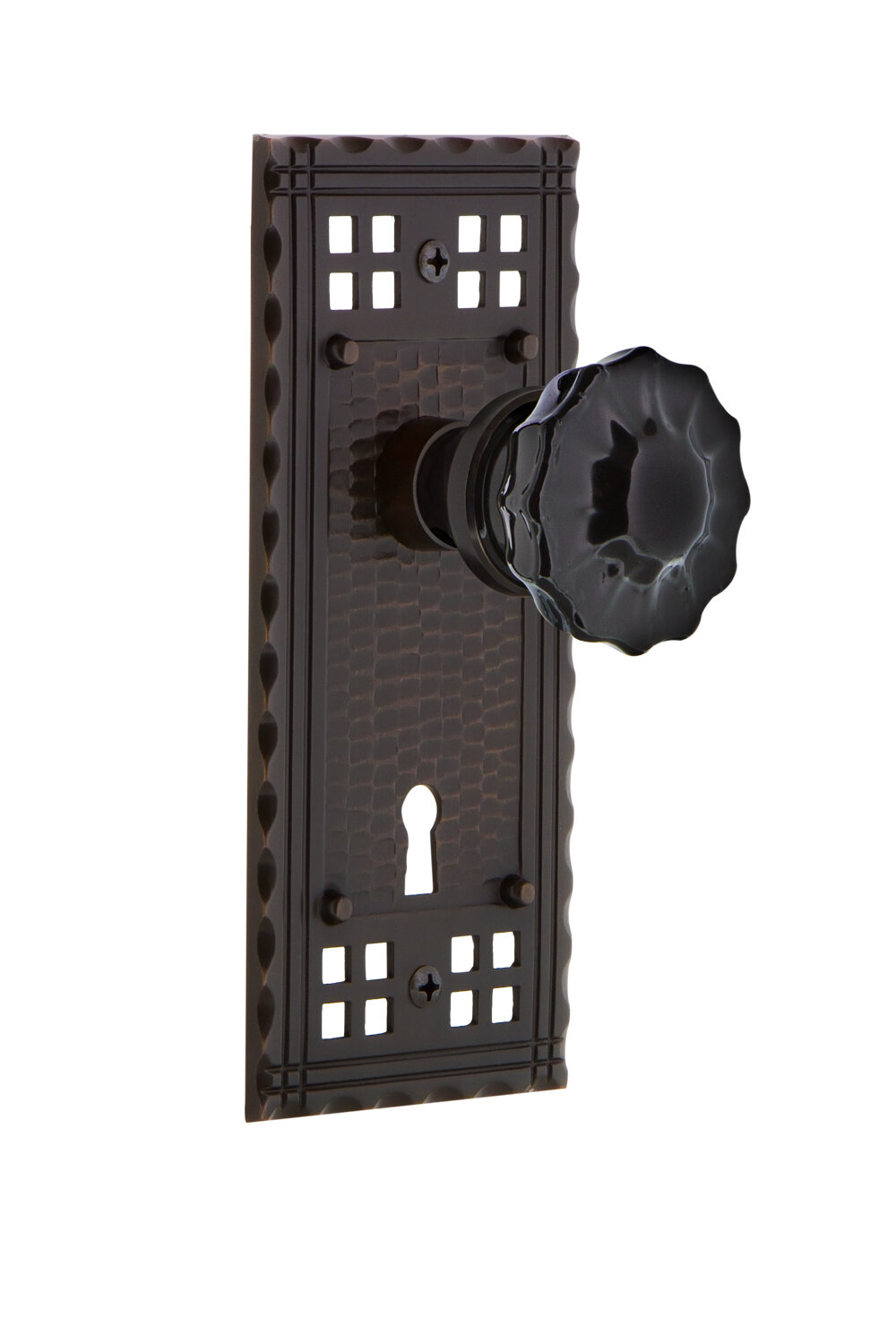 Picture of: Nostalgic Warehouse Black Crystal Double Dummy Door Knob With Keyhole Craftsman Long Plate Wayfair