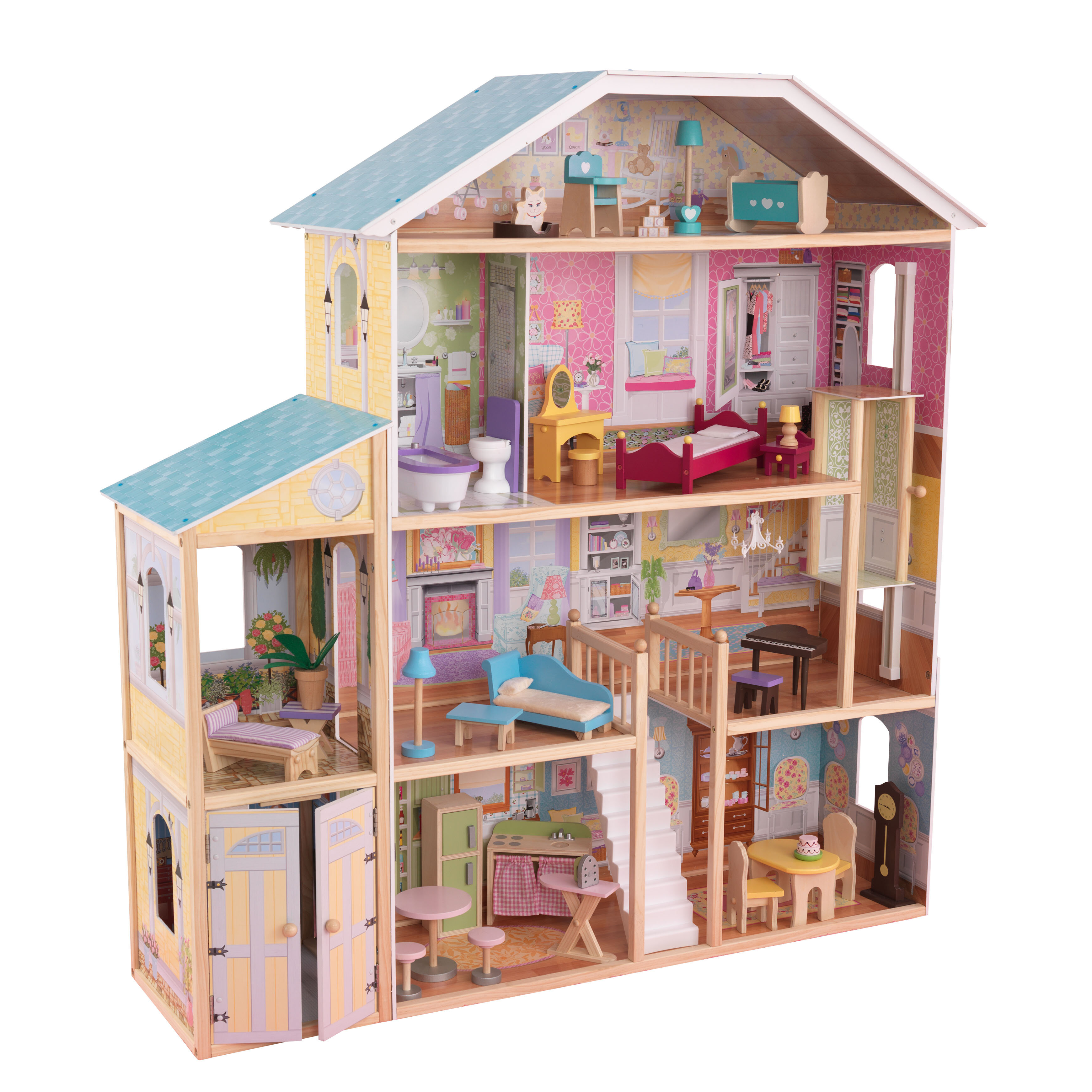 White Pink Teamson Kids Blue Dreamland Barcelona Wooden Pretend Play Doll House Dollhouse for 3.5 Doll with 10 Pieces of Furniture