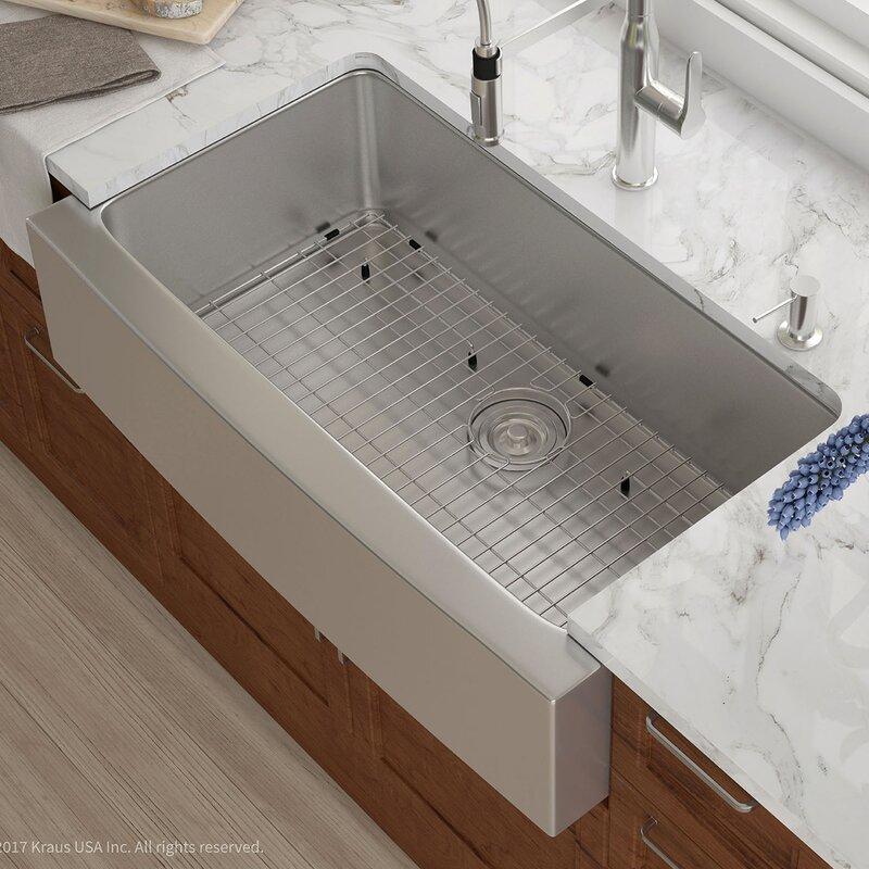 36   x 21   farmhouse kitchen sink with drain assembly kraus 36   x 21   farmhouse kitchen sink with drain assembly      rh   wayfair com