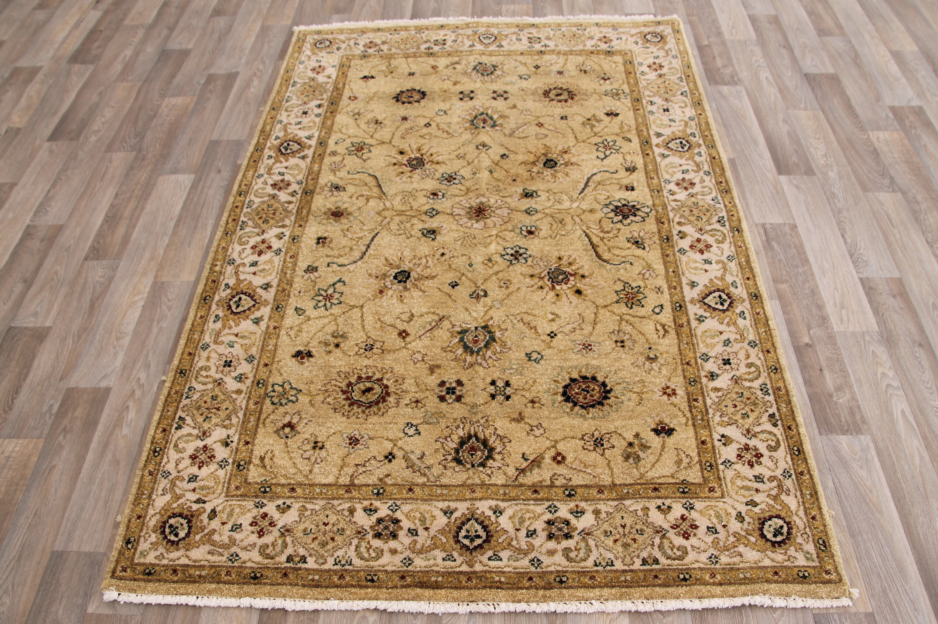 Canora Grey One Of A Kind Hubbell Hand Knotted Beige Brown 4 1 X 6 2 Wool Area Rug Wayfair