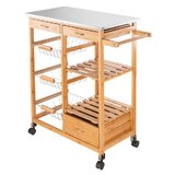 Rolling Kitchen Cart with Stainless Steel Top by Prep & Savour