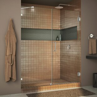 Inexpensive Unidoor Lux 55 x 72 Hinged Frameless Shower Door with Clearmax™ Technology ByDreamLine