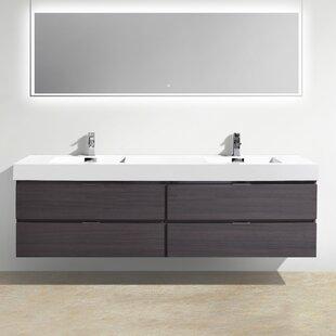 Tenafly Wood 80 Double Modern Bathroom Vanity Set ByWade Logan