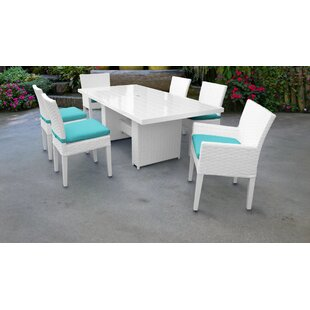 TK Classics Monaco 7 Piece Outdoor Patio Dining Set with Cushions