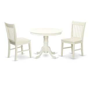 August Grove Malaki 3 Piece Breakfast Nook Solid Wood Dining Set
