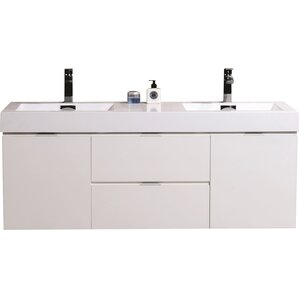 tenafly 60 double wall mount modern bathroom vanity set - Modern White Bathroom Cabinets