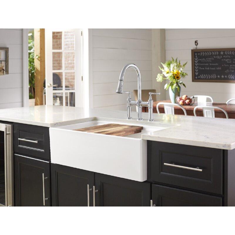 Elkay 33 L X 20 W Double Basin Farmhouse Apron Kitchen Sink Reviews Wayfair