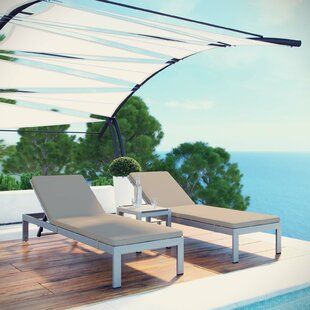 Coline Outdoor Patio Aluminum Sun Lounger Set with Cushions and Table