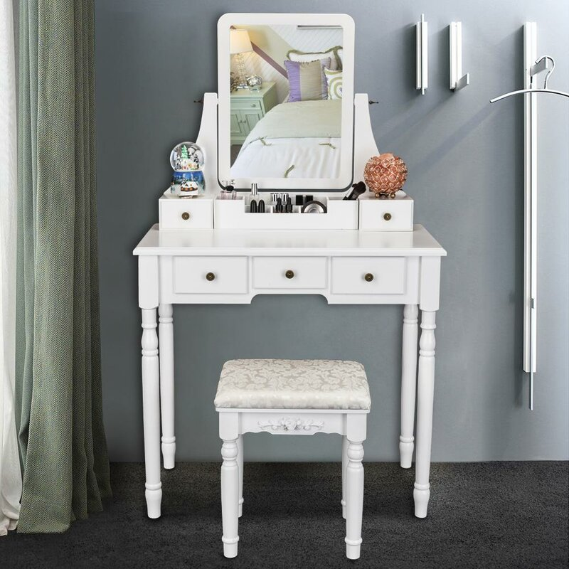 Ophelia Co Danielsville Vanity Set With Stool And Mirror Wayfair