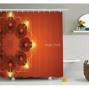 Murillo Diwali Indian Religious Sacred Celebration Happy Diwali Festive Paisley Pattern Print Single Shower Curtain