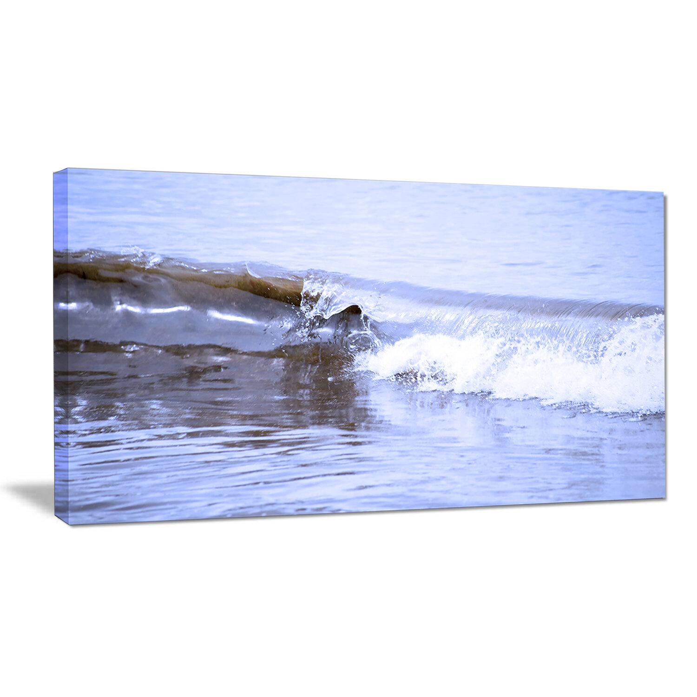 Designart Crisp Blue Waves Splashing Beach Photographic Print On Wrapped Canvas Wayfair