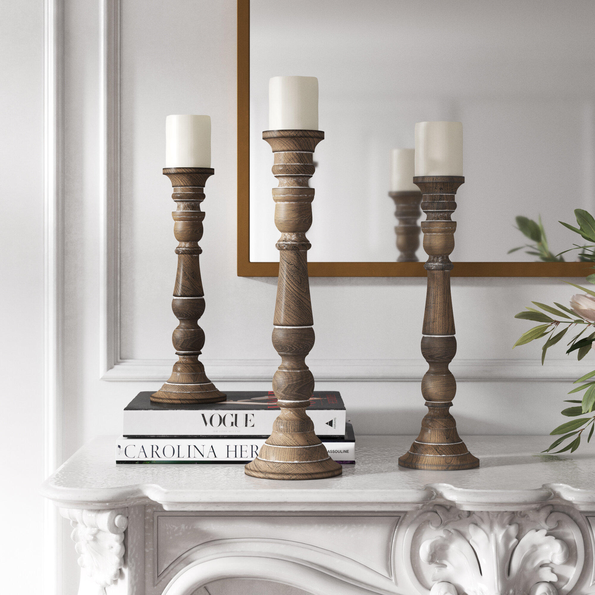 Kelly Clarkson Home 3 Piece Wood Tabletop Candlestick Set Reviews Wayfair