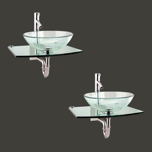 Metal/Glass 25 Wall Mount Bathroom Sink with Faucet (Set of 2) by The Renovators Supply Inc.