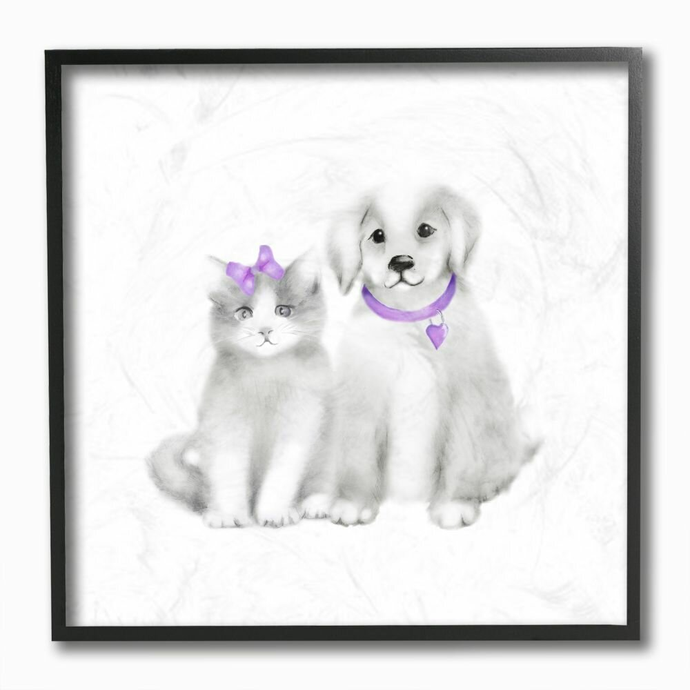Isabelle Max Smartt Cute Cartoon Baby Cat And Dog Family Painting Kids Wall Decor