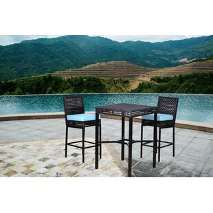 Allura 3 Piece Bar Height Dining Set with Cushions (Set of 3)