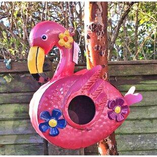 Metal Flamingo Hanging Birdhouse By Bay Isle Home