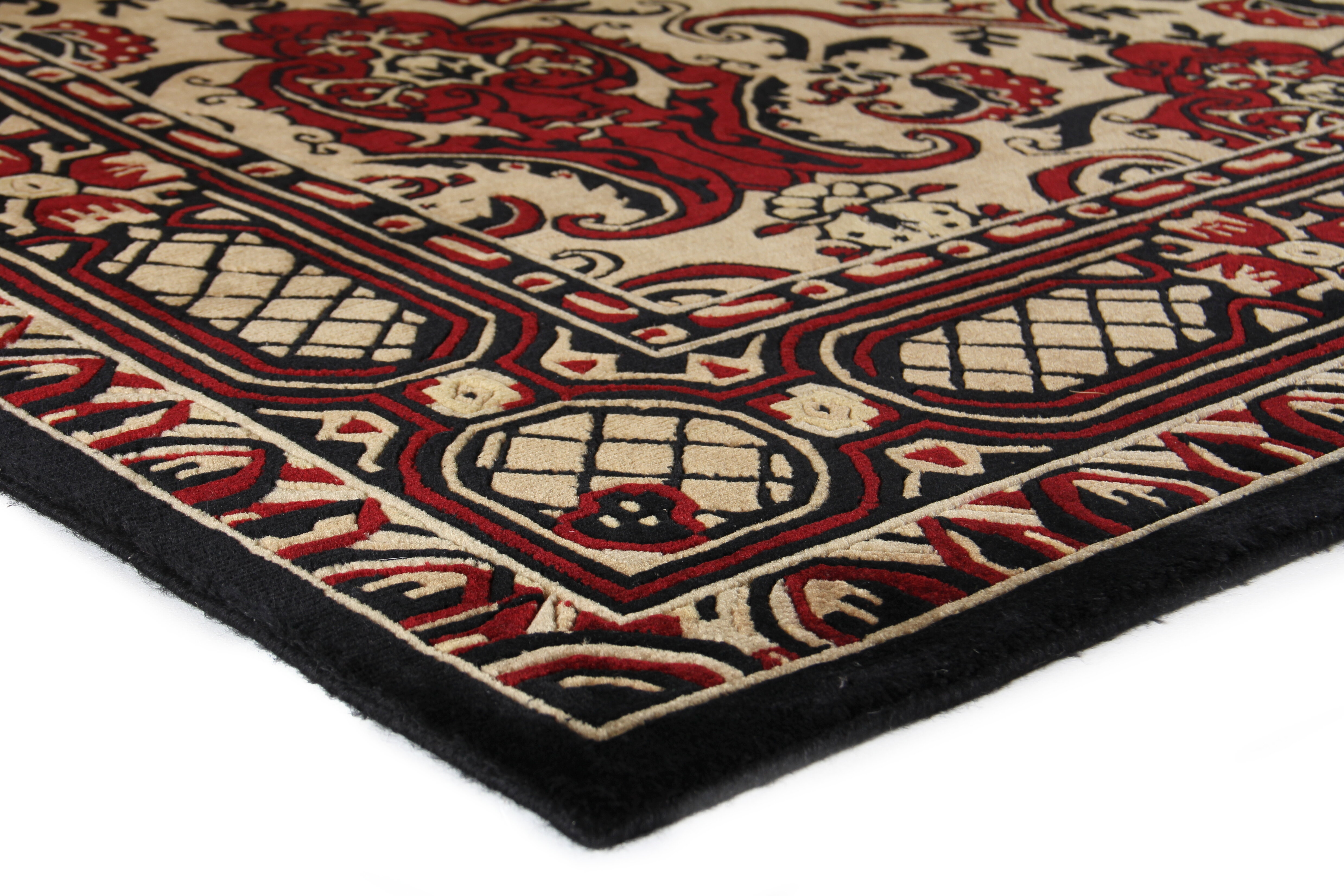 Exquisite Rugs Oriental Hand Knotted Wool Black Red Area Rug Wayfair