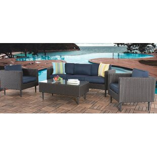 Aadhya Patio 4 Piece Rattan Sofa Seating Group with Cushions