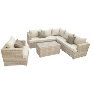 Willa Arlo Interiors Josi 5 Piece Rattan Sectional Set with Cushions