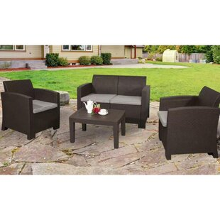 Edenfield Deluxe 4-Piece Rattan Sofa Seating Group with Cushions