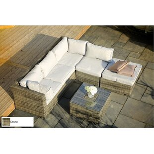 Bradenville 5-Piece Sofa Seating group with Table and Ottoman and Luxury Cushions Lounge Set