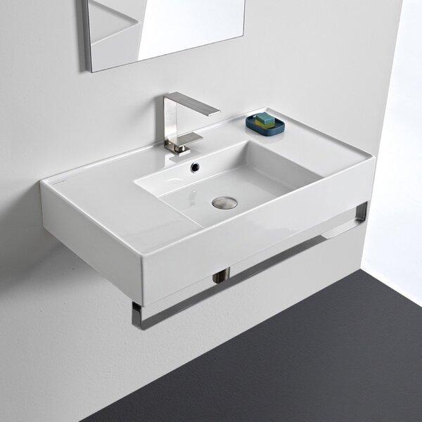 Bathroom Sink.Ceramic 32 Wall Mounted Bathroom Sink With Overflow