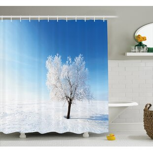 Mcclure Single Tree on Snow Cover Field With Vibrant Sky Blizzard Frozen Concept Single Shower Curtain