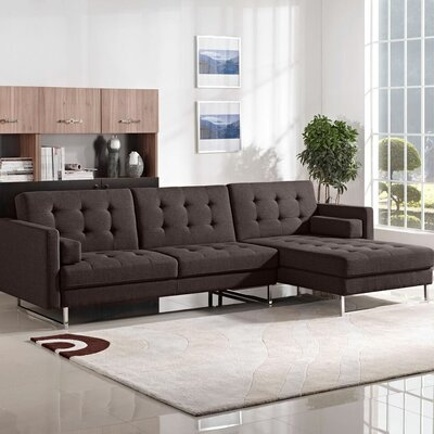 Opus Sleeper Sectional Diamond Sofa Upholstery: Chocolate