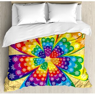 East Urban Home Rainbow Ornament with Graphic Flower Elements Geometric Vibrant Artsy Illustration Duvet Set