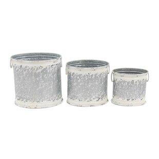 Cole & Grey Round 3-Piece Barrel Planter Set
