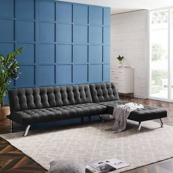 Ivy Bronx Odonoghue 100 Faux Leather Reversible Sleeper Sofa Chaise Sectional Reviews Wayfair