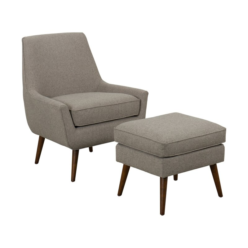 Grey Accent Chair Brown Block Legs: George Oliver Fabric Upholstered Wooden Accent Chair And