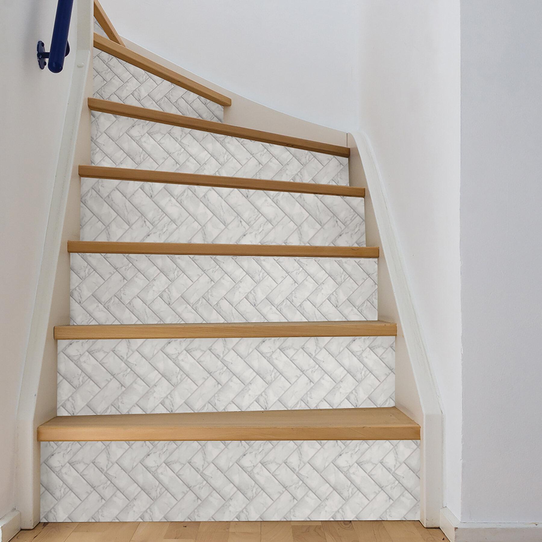 Wallpops Herringbone Carrara 10 X 10 Resin Peel Stick Mosaic Tile In White Gray Reviews