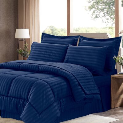Bay Isle Home Tana 8 Piece Comforter Set Color: Navy, Size: King