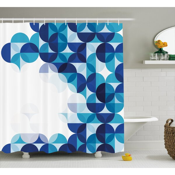 Ebern Designs Grafton Modern White Circles Shower Curtain | Wayfair